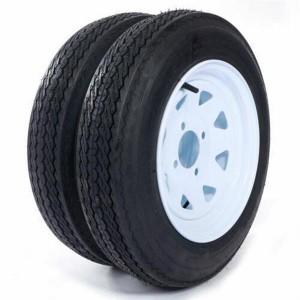 "One - Trailer Tires & Rims 480-12 12"" 4 Lug Wheel White Spoke 4ply 4.80-12"