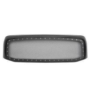 ABS Plastic Car Front Bumper Grille for 2006-2008 Dodge RAM 1500/2006-2009 Doge RAM 2500/3500 ABS Plastic Stainless Steel Coating with Rivet QH-CH-001 Black
