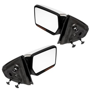 Left & Right Chrome For 04-14 Ford F-150 Power Heated LED Puddle Signals Mirrors