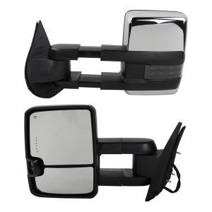 Power Heated Chrome Towing Mirrors for 07-13 Chevy Tahoe LED Signal & Backup Lamp